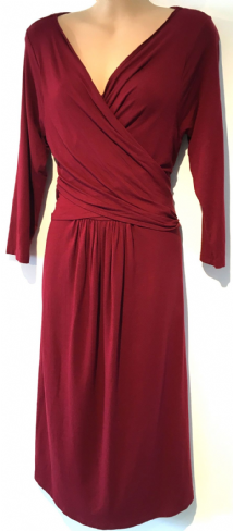 ISABELLA OLIVER BURGUNDY JERSEY WRAP DRESS SIZE 5 UK 16
